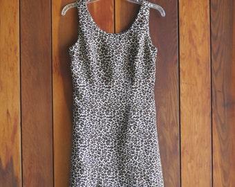 90s Leopard Mini Dress Leopard Chiffon Mini Dress Leopard Print Mini Dress by CDC