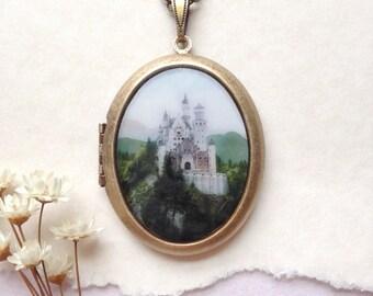 Fairy Tale Castle Locket - Neuschwanstein 'Sleeping Beauty' Castle - Brass Photo Locket Necklace