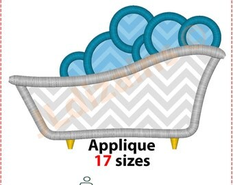 Bathtub applique design. Bath embroidery design. Bath applique design. Bathtub embroidery design. Bath embroidery. Machine embroidery design