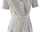 1930s Small Romper Onesie Seersucker Pin Striped White Brown Nurse Uniform Retro Shorts Beach Pin Up Resort Summer Festival Petite Lolita