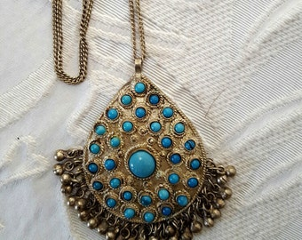 Turquoise & Metal BoHo/Retro Pendant Necklace
