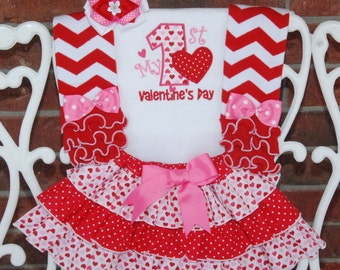 4 pc. My 1st Valentine's Day Outfit! Baby/Toddler Hearts & Dots Ruffle Skirt with Appliqued Bodysuit and Bow! 1st Valentines Day Outfit