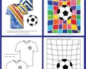Kids Euro 2016 Soccer/football Art Activity Pack. Colouring templates, activity & design sheets, printables. Instant pdf download 41 pages