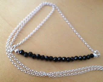 "Faceted Black Spinel Necklace in Silver, ""Ultimate Protect"""