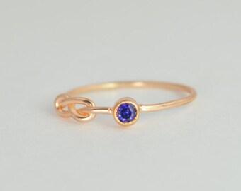 14k Rose Gold Sapphire Infinity Ring, 14k Rose Gold, Stackable Rings, Mothers Ring, September Birthstone, Rose Gold Infinity, Rose Gold Knot