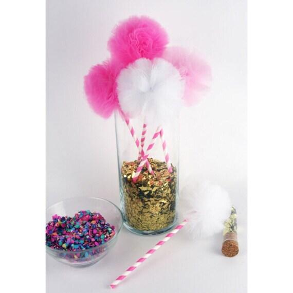 Baby Girl Princess Shower Tulle Pom DIY Vase By FestivityInk
