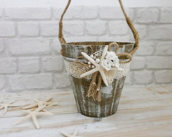 Beach Flower Girl Basket Rustic Wooden