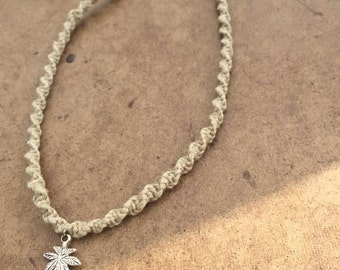 Pot Leaf Square Knot or Spiral Knot Hemp Necklace