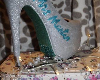 Glitter High Heel Wedding Shoes With Custom Name, Date and Colour.