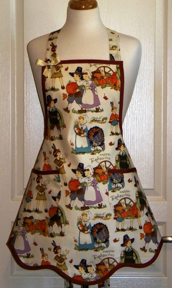 Retro Thanksgiving Apron - Pilgrim Fall Apron - Kitsch Apron - Pilgrim Children and Native American Children Celebrating Thanksgiving