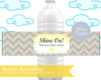 Water Bottle Label - You Are My Sunshine Baby Shower - 1st Birthday Party - Download - Printable - Decor, Yellow and Grey, Chevron, Custom