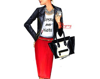 Fashion Illustration,Fashion Sketch,Fashion Print,Fashion wall art,Fashion art,Fashion poster,Girly sketch,Titled-Lipstick and Hustle
