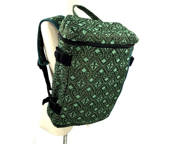 Green Turquoise Travel Backpack, Summer Adventurer Backpack, Ethnic Trekker Backpack, Moroccan Fabric Rucksack, Ikat folk Native backpack