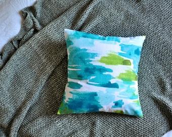 Watercolour Cushion Cover, Throw Pillow Cover, Throw Cushion Cover, Decorative Cushion Cover, Decorative Pillow - Teal & Green Brushstrokes