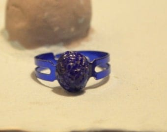 Faux Lapis Carved With Scarab Ring