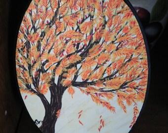 Autumn Tree Oval Painting