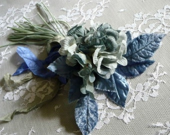 Vintage Millinery Violets Blue Flowers Posie Pin Nosegay Corsage Brooch Victorian Style