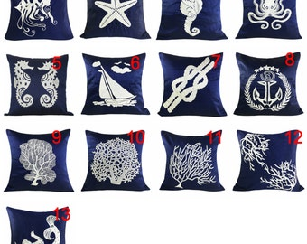 Set of 2, 3, 4 Navy White Nautical Design Pillow Covers, Nautical Decor, Coastal Decor, Beach Decor, Dark Blue White Nautical Throw Pillows