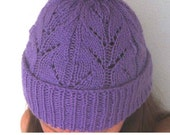 Annabel Lace Beanie Hat Knitting Pattern - ladies, kids, child - Instant Download PDF