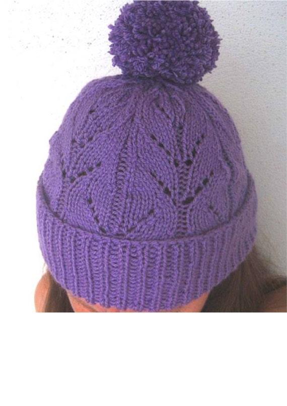 Annabel Lace Beanie Hat Knitting Pattern ladies kids child