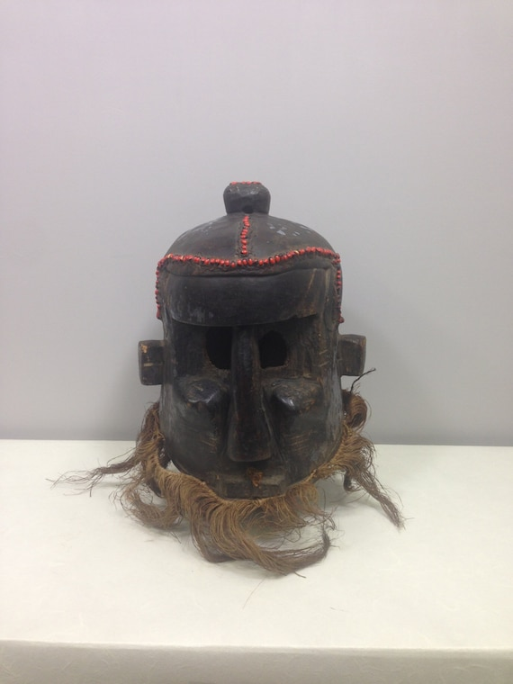 African Mask Old Helmet Binji Kuba Kingdom Congo Handmade Hand Carved Wood Helmet Raffia Red Seeds Powerful Ceremonies Mask