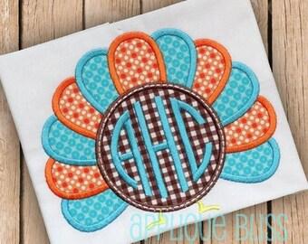 Monogram Turkey Digital Thanksgiving Applique Design - Thanksgiving Embroidery Design - Circle Monogram - Download