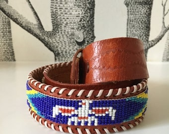 Vintage Thunderbird Beaded Indian Belt Southwestern