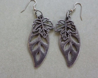 Woodland Found Objects Pewter Metal Leaves Dangle Earrings, Open Cut Filigreed Metal, Two Kinds of Leaves. Hang 2.5 Inches. Nature Inspired.
