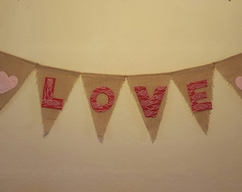 Love Burlap Banner, Heart Banner, Love Banner, Lace and Burlap Garland, Save the Date prop, Love Photo Prop, Wedding Decor, Engagement Prop
