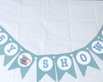 Dumbo Baby shower banner - Baby Shower or baby announcement, decoration, Banner, Dumbo new baby, also available in pink and royal blue