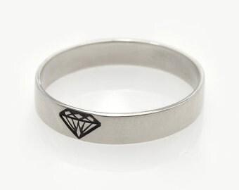 White gold wedding Band,unisex ring, 14K white gold ring with diamond engraved shape, Diamond silhouette ring, Diamond ring, Gold diamond