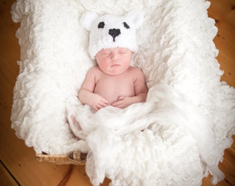 Hand-Knit Polar Bear Hat