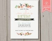Fall Floral Birthday Party Invitation | Girl | Printable or Printed Cards | 5x7 | Shabby Chic Sweet Floral Soft Pink Tea Party Feminine
