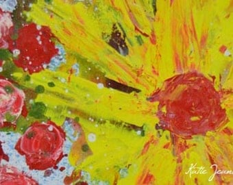 Pink & Yellow Acrylic Flower Art Painting. Red Roses Floral Painting. Romantic Wall Decor. 206