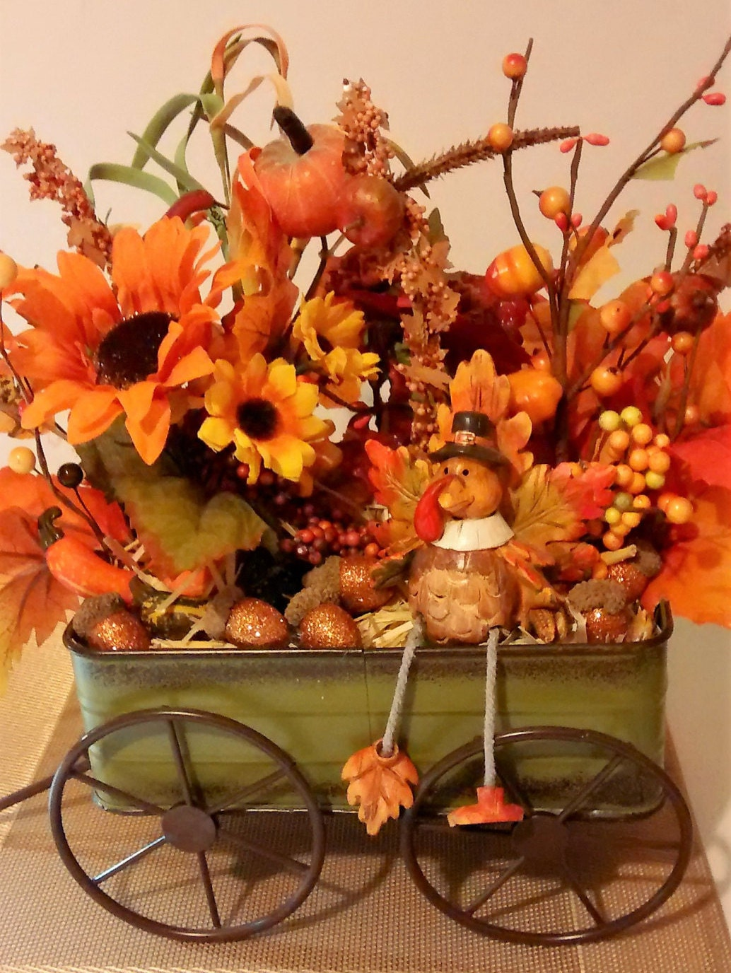Fall Rustic Arrangement In Green Metal Wagon Fall Autumn
