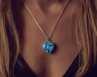 Small Blue Glowing Necklace - Heart Necklace - Light Blue Wedding - Silver Necklace - Glow in the Dark Necklace - Glow Necklace - for Her