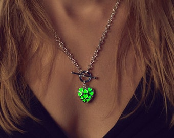 Green Glowing Necklace - Little Hearts - Glow in the Dark Necklace - Glow Heart - Glow Necklace - Heart Pendant - Gifts for Her