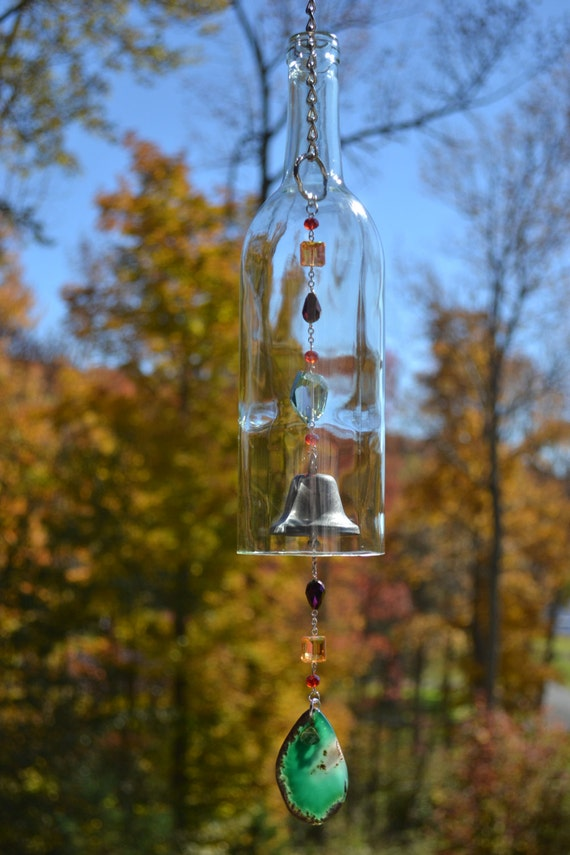 Wine bottle wind chime recycled bottle chime for Wind chimes from recycled materials