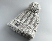 Mans Bobble Hat. Available in 9 Colours. HoBo Handmade Winter Hat Thick chunky hand knit beanie. Large pom pom Grey tweed wool blend 4 Sizes
