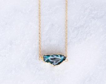 Dark Teal Quartz Pendant Necklace