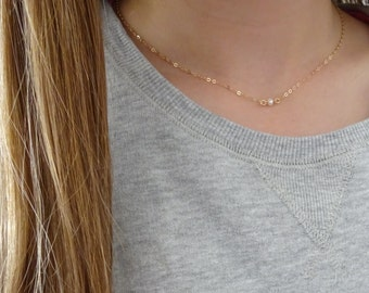 Freshwater pearl necklace, June birthstone necklace, Bridesmaid necklace, bridal jewelry, wedding necklace, rose gold necklace