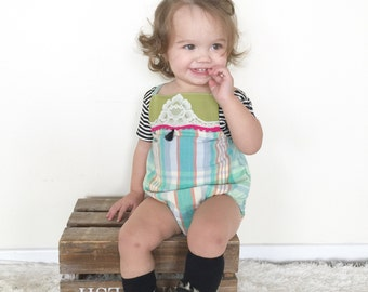 SALE!! Boho Plaid and Lace Baby/Toddler Romoper
