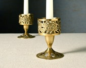 Pair of brass candle holders. Pierced ornate style. Two candlesticks. Boho decor.