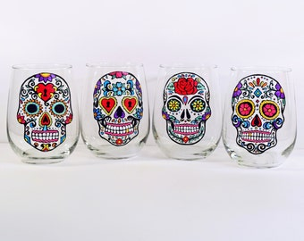 Sugar Skull, Stemless Wine Glasses, Hand Painted Glass, Sugar Skulls, Day of the Dead, Dia De Los Muertos, Halloween Glasses, Wine Gift Set