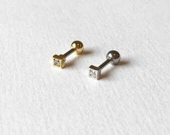 Petite Sparkly Square Cartilage,Tragus,Helix,Conch,Ear Piercing 16 Gauge(EPC-105),Surgical Steel,Single Earring, Available in Silver, Gold