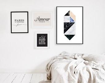 Abstract Print Poster, Wall Hanging, Retro Print Poster, Geometric Print Poster, Minimalist Poster, Triangles Print, Triangles Wall Art.