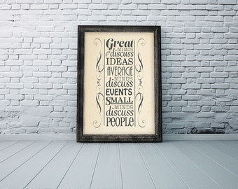 """Printable Typography Art   Great Minds Quote by Eleanor Roosevelt   Digital Typography Art   11""""x14""""   Instant Download"""