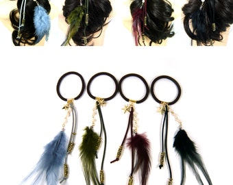 Boho Hippie Indian Costume Real Feather Ponytail Holder Pearl Beads Faux Suede Cord Gold Star Elastic Hair Tie Rope Band Ring Accessory Gift