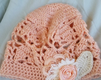 Lacy Crochet Beanie, Hat for Women, Hat for Girls, Slouchy Hat, Floral Accent
