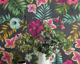 FLOWER BLOSSOM Wall Mural Hand Drawn Floral Removable Wallpaper Tropical Flower Blossom Temporary
